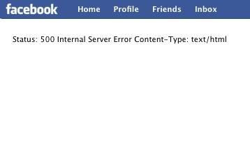 Http error 500 facebook