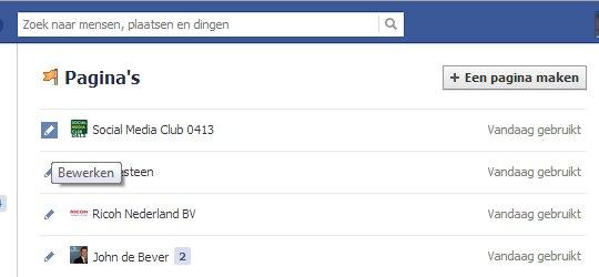aanpassen Faceboek lijst