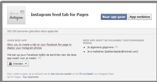 instagram tab Facebook pagina