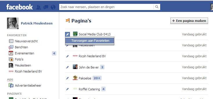 toevoegen favorieten Facebook